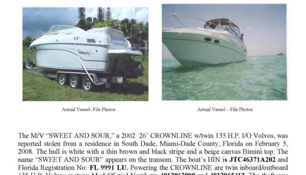 5928-08 Stolen Boat Notice 26' CROWNLINE