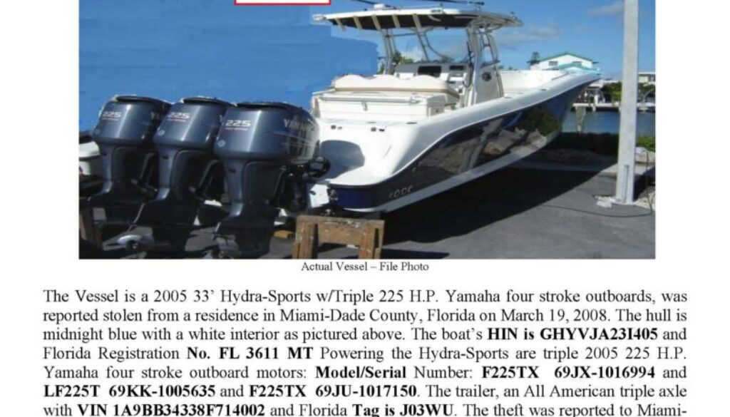5942-08 Stolen Boat Notice