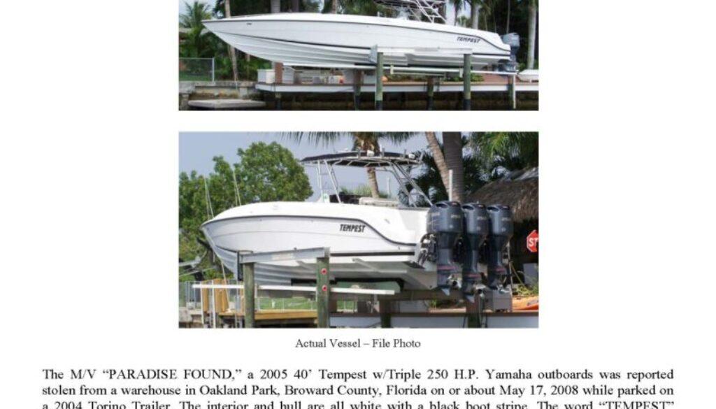 5985-08 Stolen Boat Notice