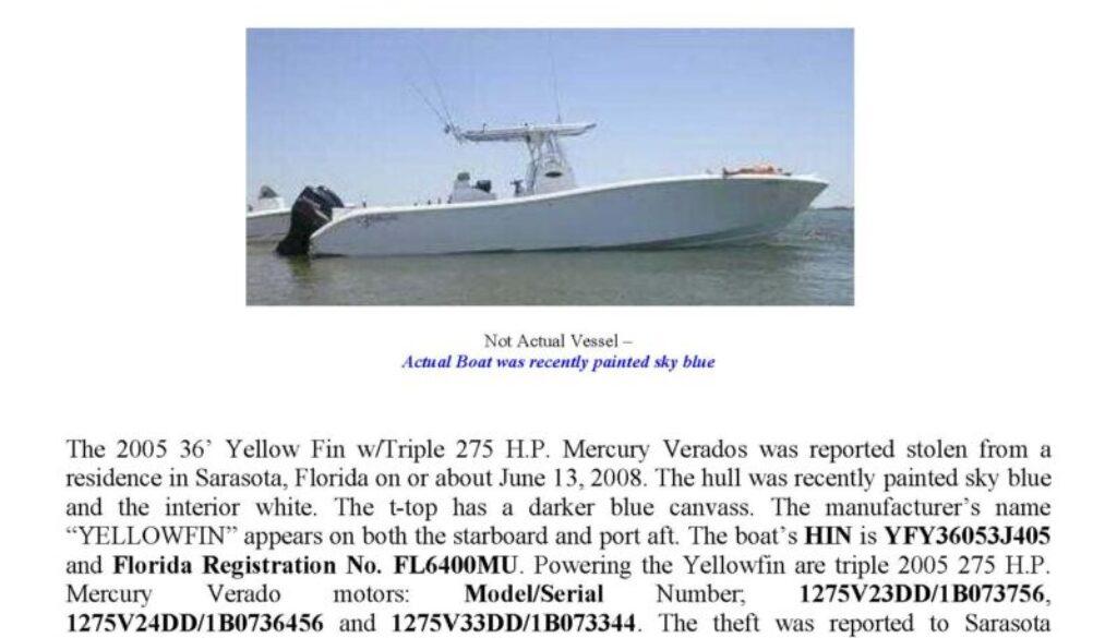 5994-08 Stolen Boat Notice
