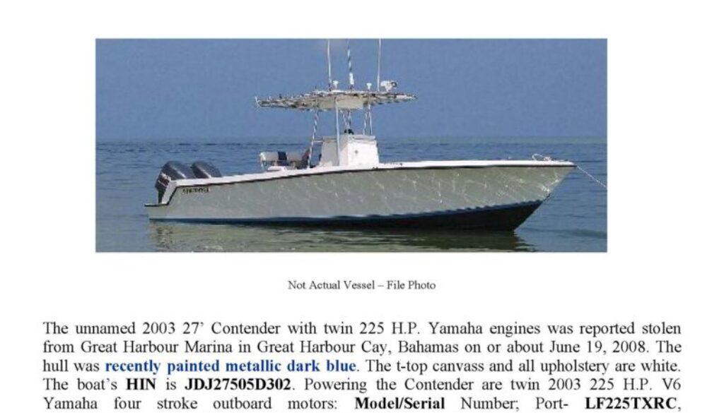 5996-08 Stolen Boat Notice