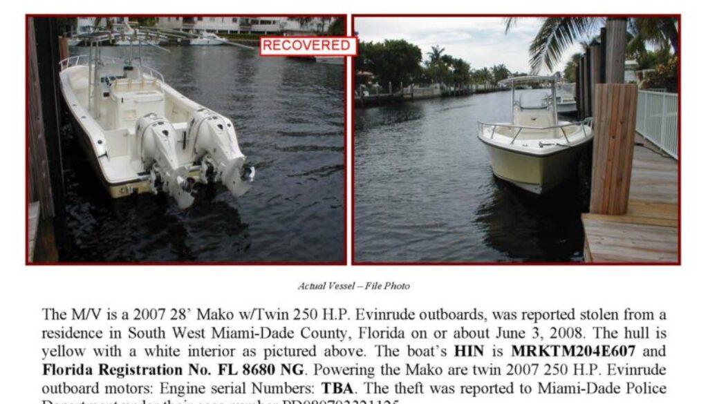 6002-08 Stolen Boat Notice 2007 28 Mako