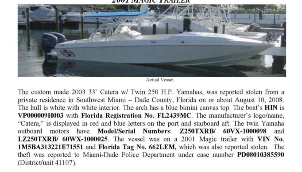 6011-08 Stolen Boat Notice 2003 33' Catera