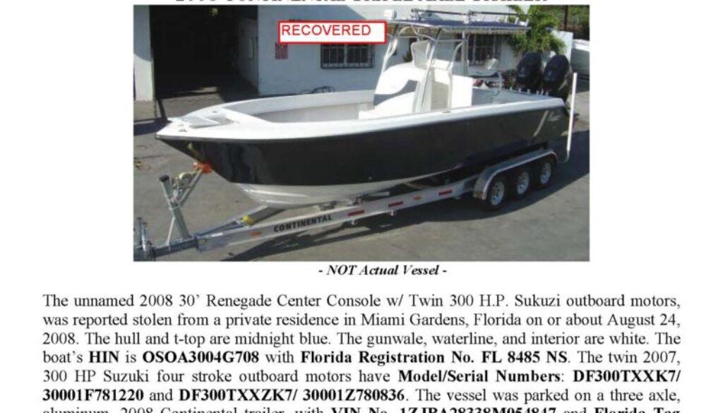 6015-08 Stolen Boat Notice 2008 30' Renegade