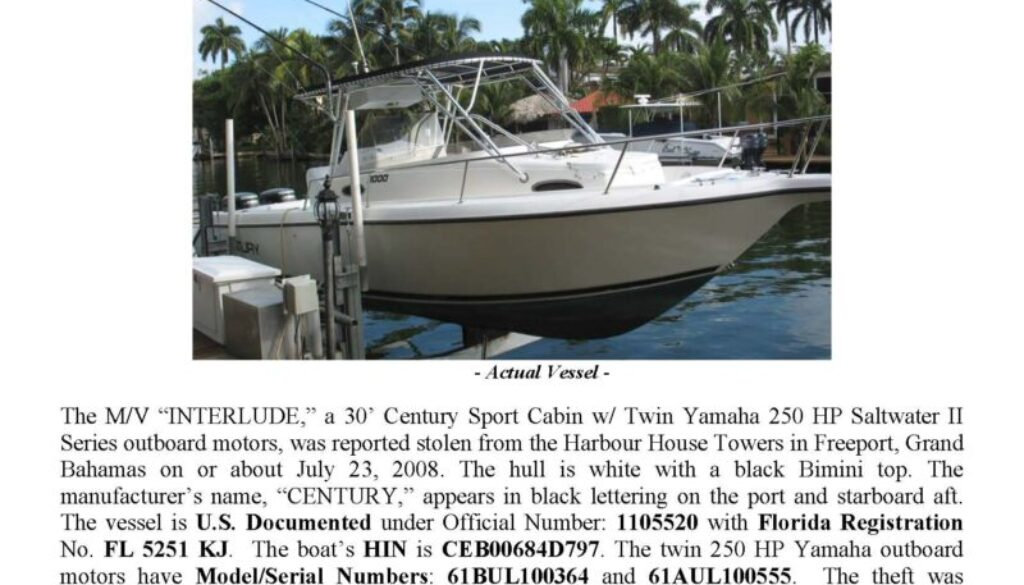 6019-08 Stolen Boat Notice - INTERLUDE 30' Century