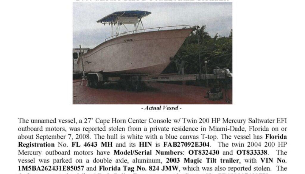 6020-08 Stolen Boat Notice -27' Cape Horn