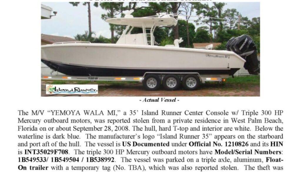 6025-08 Stolen Boat Notice - 35' Island Runner