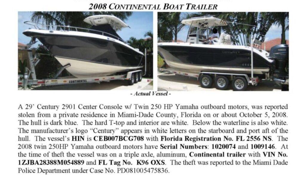 6026-08 Stolen Boat Notice -29' Century 2901CC