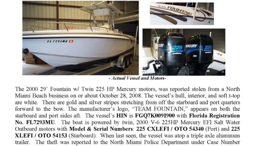 6030-08 Stolen Boat Notice - 29' Fountain