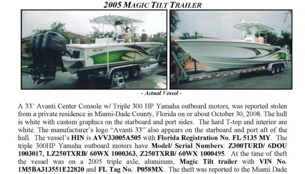 6031-08 Stolen Boat Notice -33' Avanti