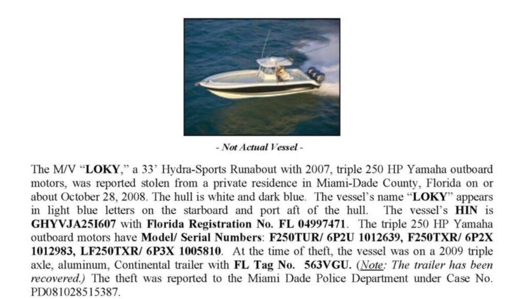 6032-08 Stolen Boat Notice -33' Hydrasport