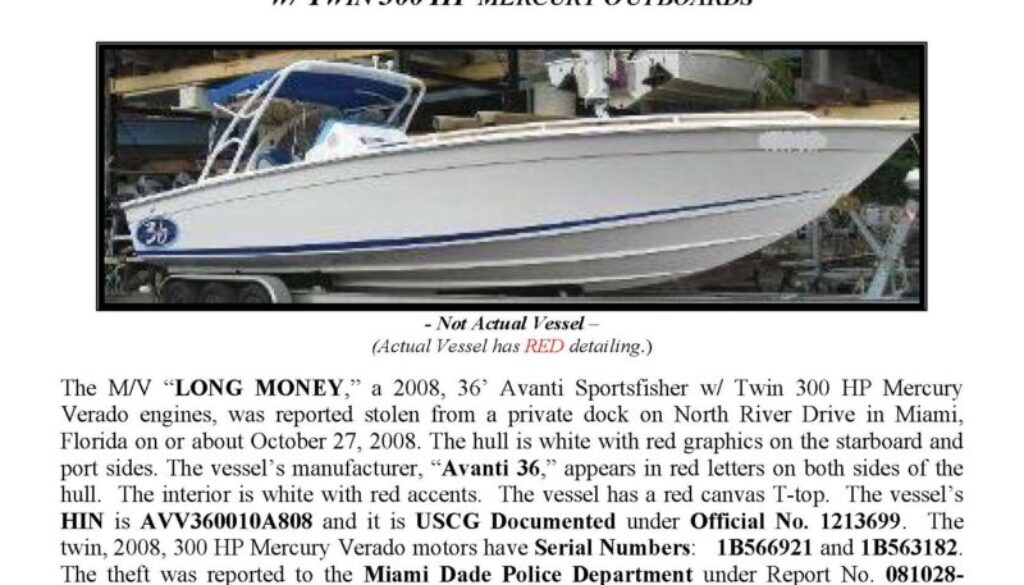 6033-08 Stolen Boat Notice -36' Avanti Sportfisher
