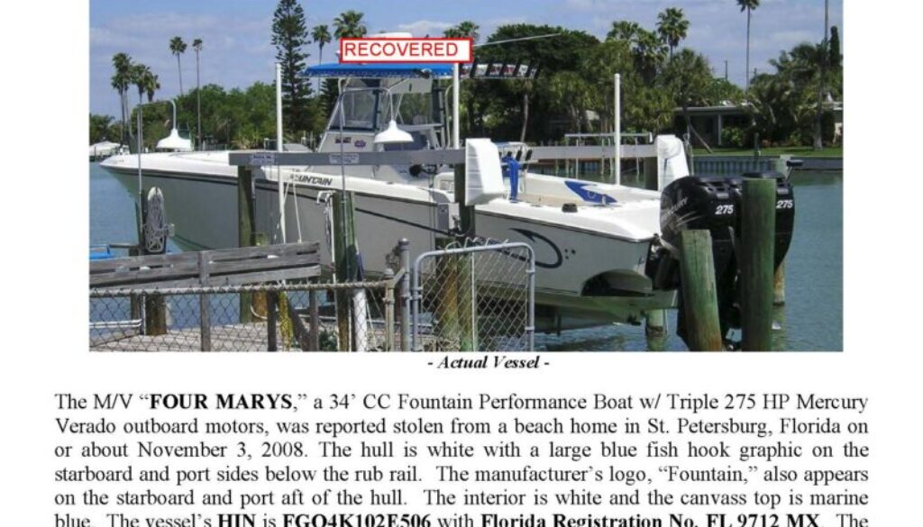 6035-08 Stolen Boat Notice -34' Fountain