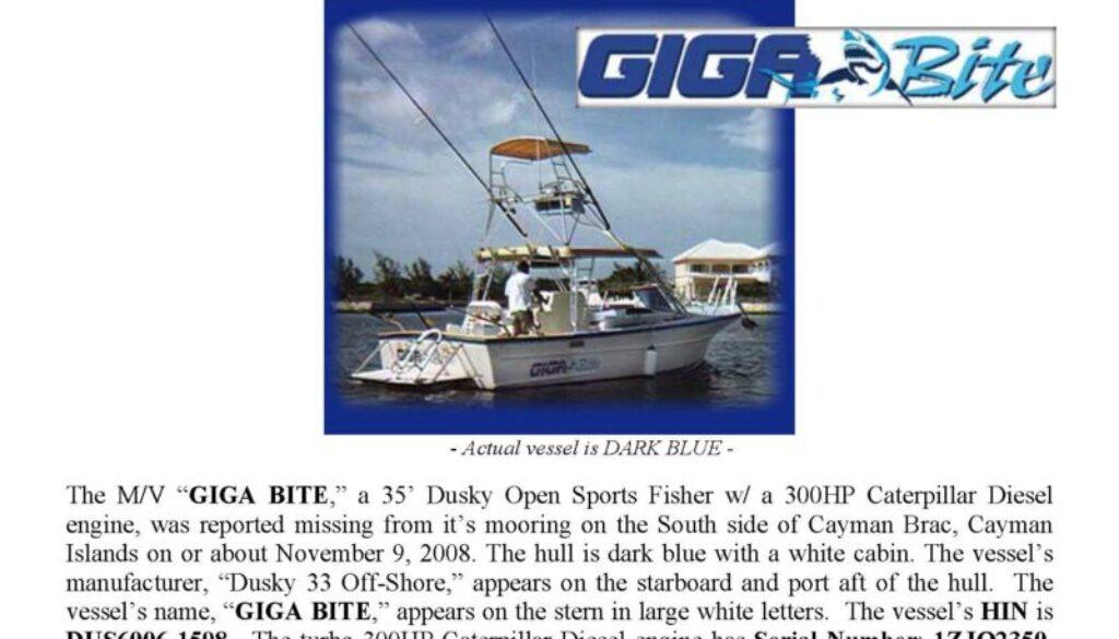 6043-08 Stolen Boat Notice -35' Dusky