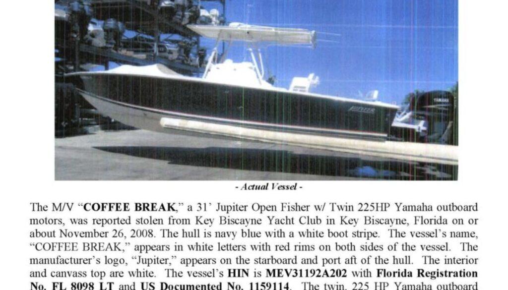 6045-08 Stolen Boat Notice -31' Jupiter