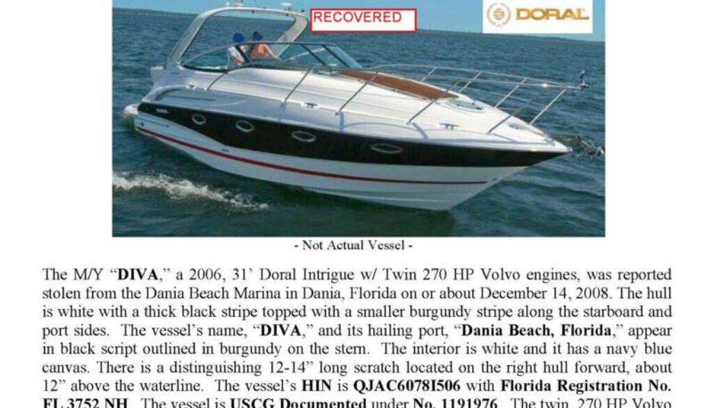 6052-08 Stolen Boat Notice -31' Doral