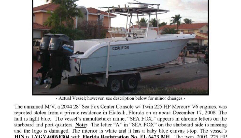 6057-08 Stolen Boat Notice - 28' Sea Fox UPDATED