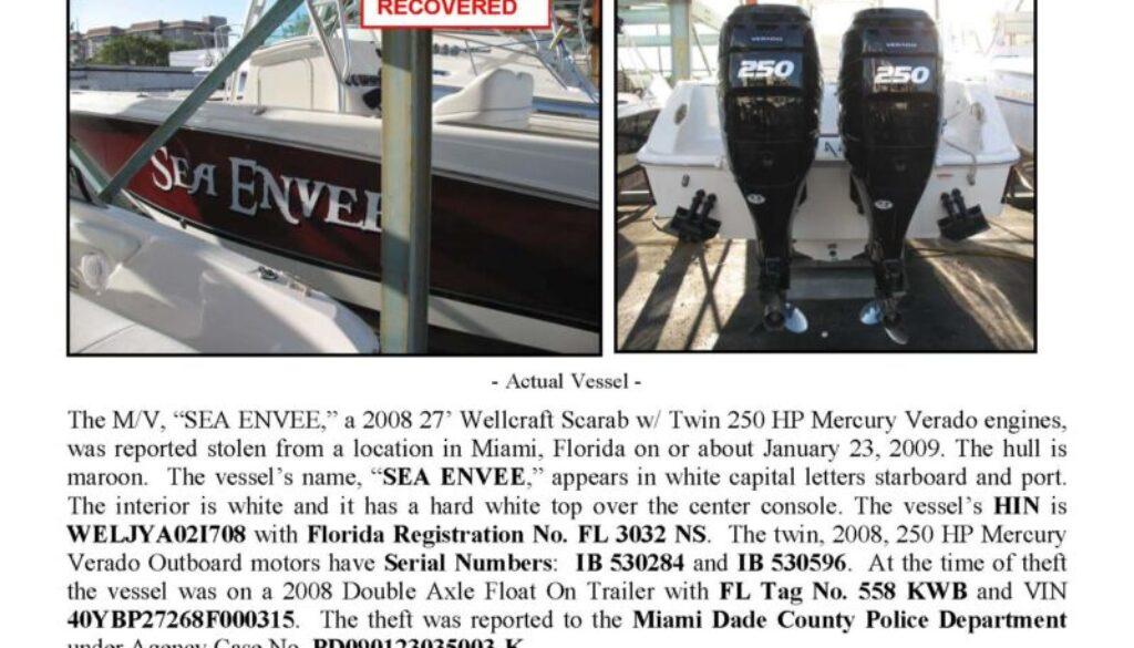 6062-09 Stolen Boat Notice -27' Wellcraft Scarab