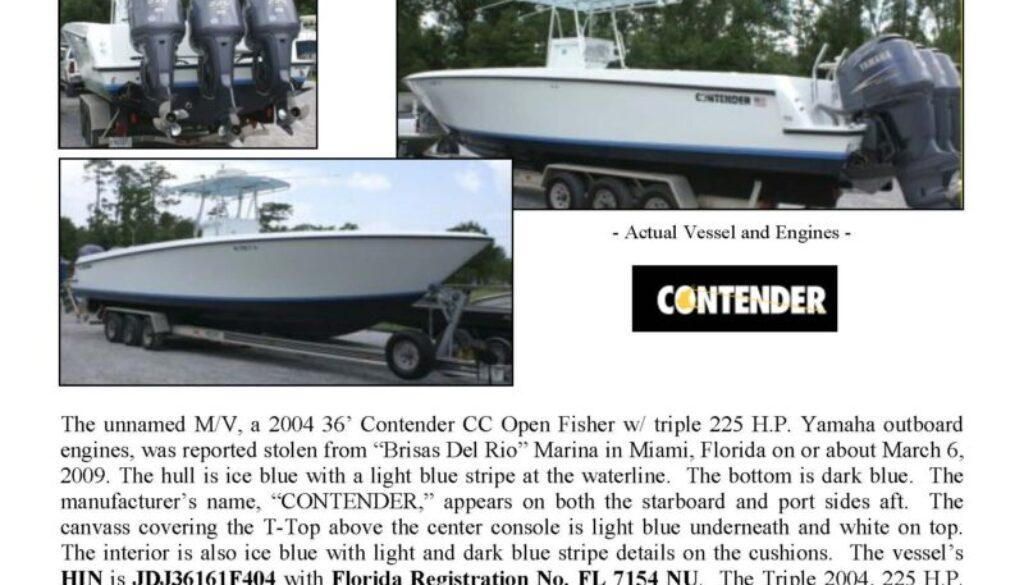 6076-09 Stolen Boat Notice -36' Contender