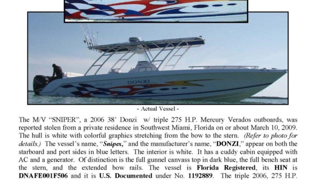 6078-09 Stolen Boat Notice - 38' Donzi