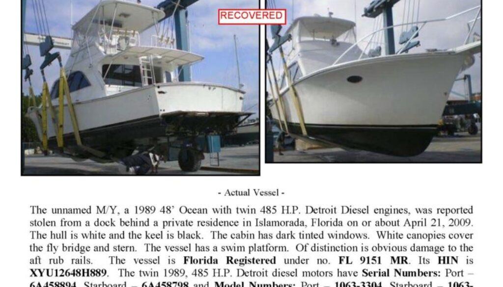 6086-09 Stolen Boat Notice - 48' Ocean