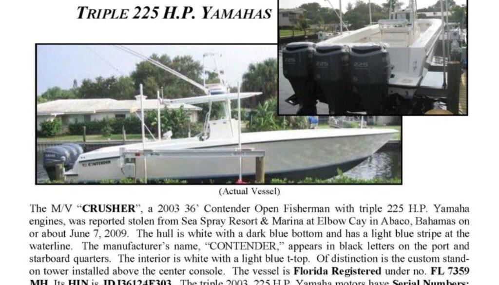 6095-09 Stolen Boat Notice - 36' Contender