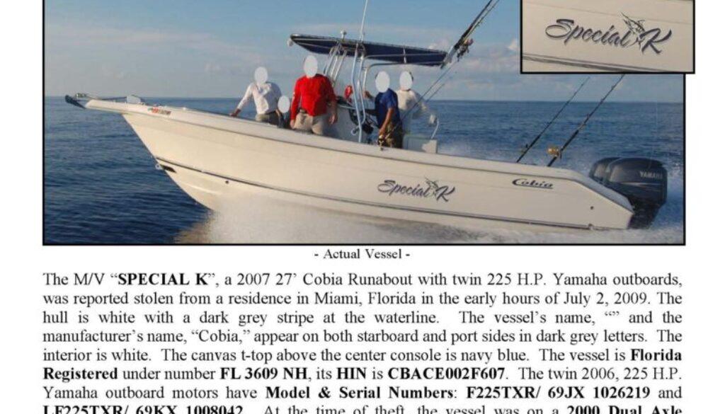 6100-09 Stolen Boat Notice - 27' Cobia