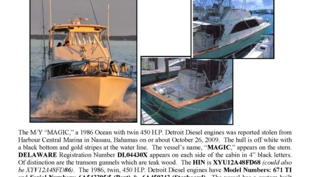 6129-09 Stolen Boat Notice - 48' Ocean
