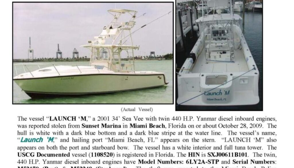 6130-09 Stolen Boat Notice - 34' Sea Vee