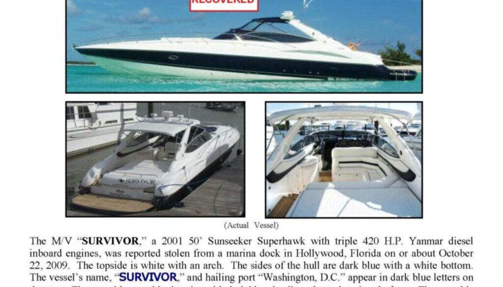 6132-09 Stolen Boat Notice - 50' Sunseeker