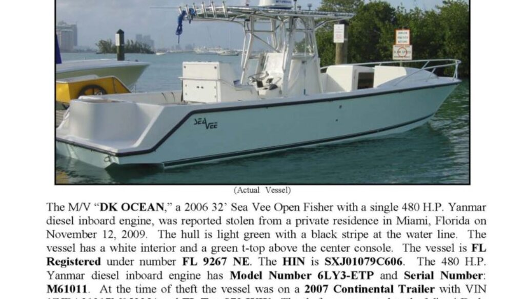 6134-09 Stolen Boat Notice - 32' Sea Vee
