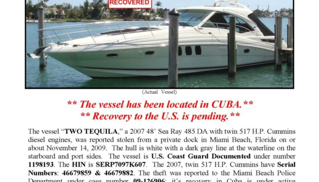 6141-09 Stolen Boat Notice - 48' Sea Ray