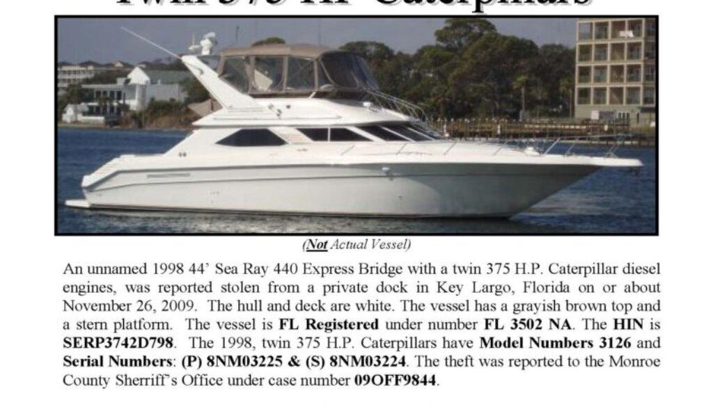 6142-09 Stolen Boat Notice - 44' Sea Ray