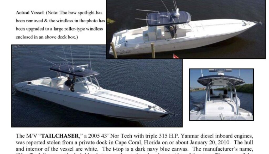 6150-10 Stolen Boat Notice - 43' Nor Tech