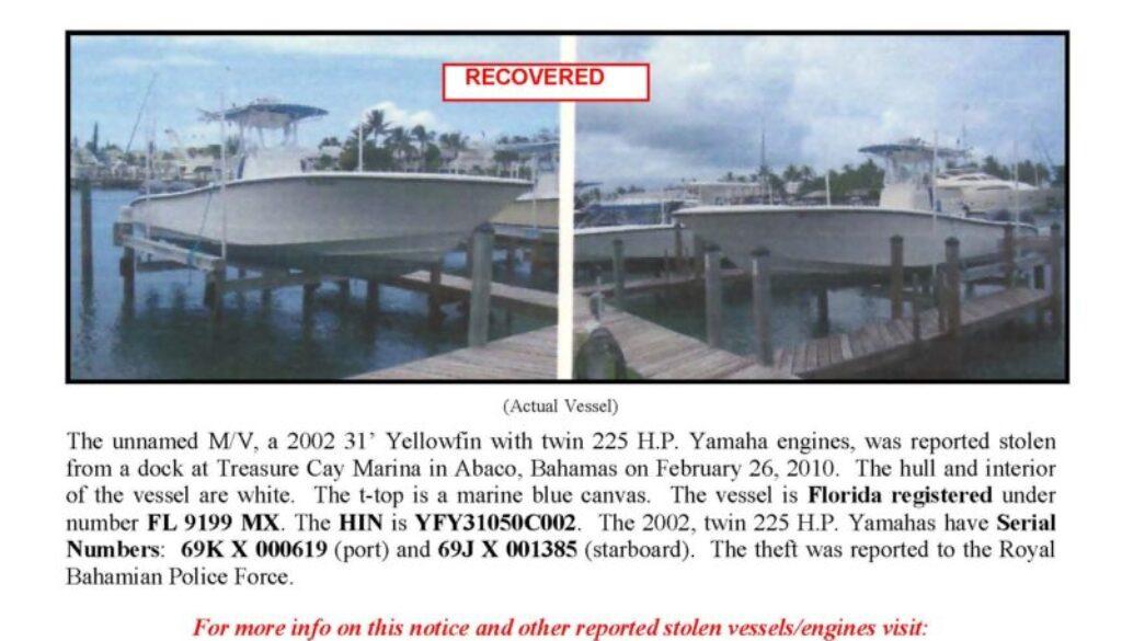 6157-10 Stolen Boat Notice - 31' Yellowfin