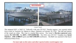 6157-10 Stolen Boat Notice - 31' Yellowfin