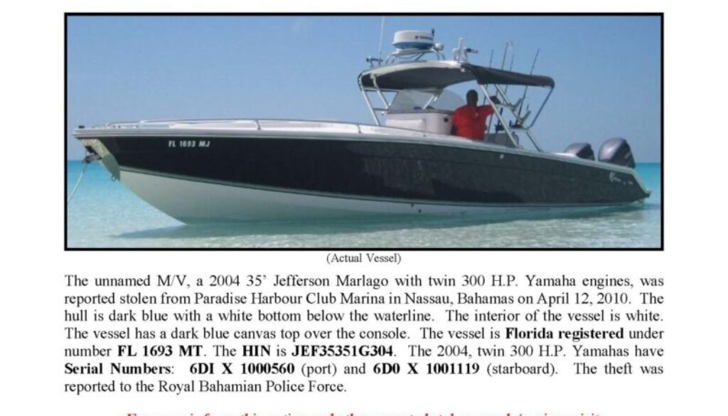 6166-10 Stolen Boat Notice - 35' Jefferson Marlago