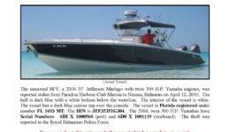 6166-10 Stolen Boat Notice - 35' Jefferson Marlago
