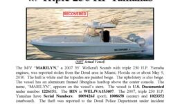 6176-10 Stolen Boat Notice - 35' Wellcraft Scarab