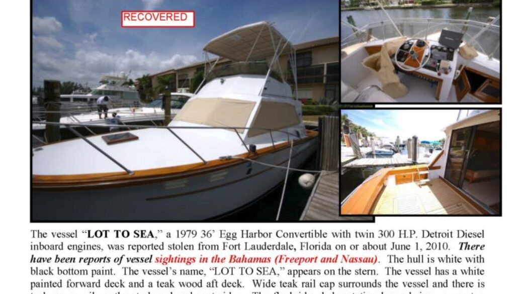 6179-10 Stolen Boat Notice - 36' Egg Harbor