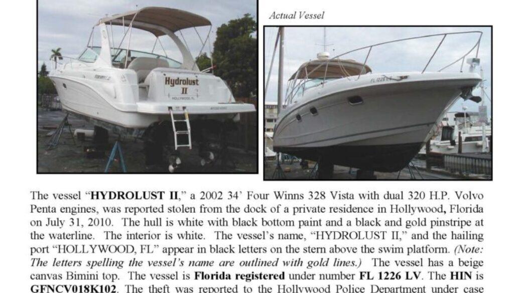 6192-10 Stolen Boat Notice - 34' Four Winns