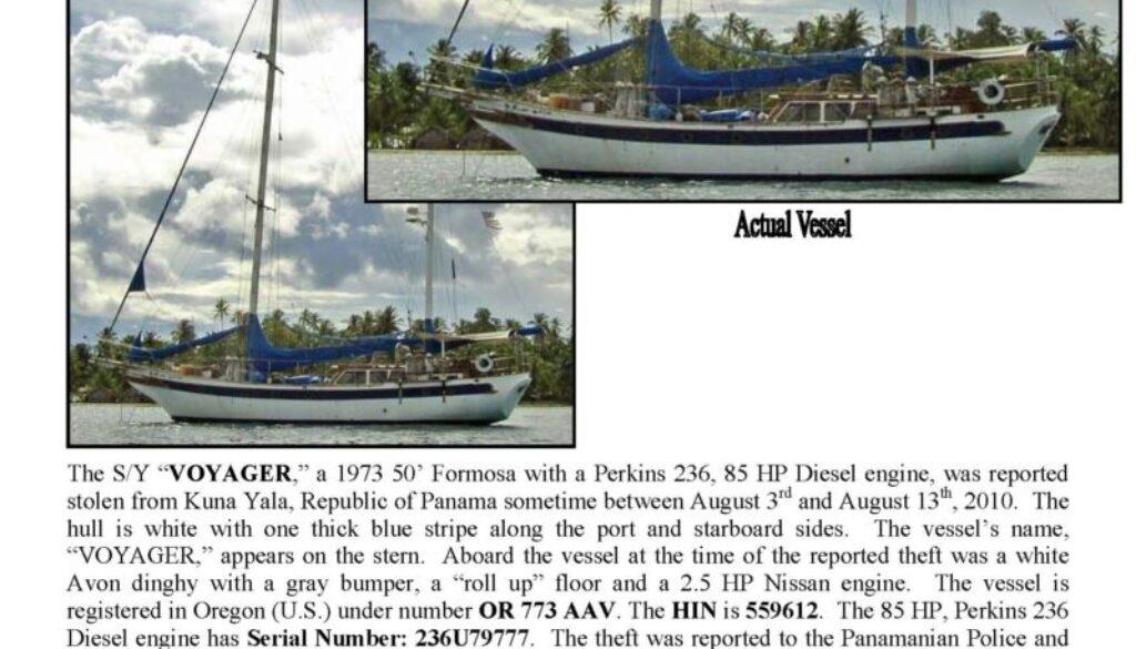 6202-10 Stolen Boat Notice - 50' Formosa