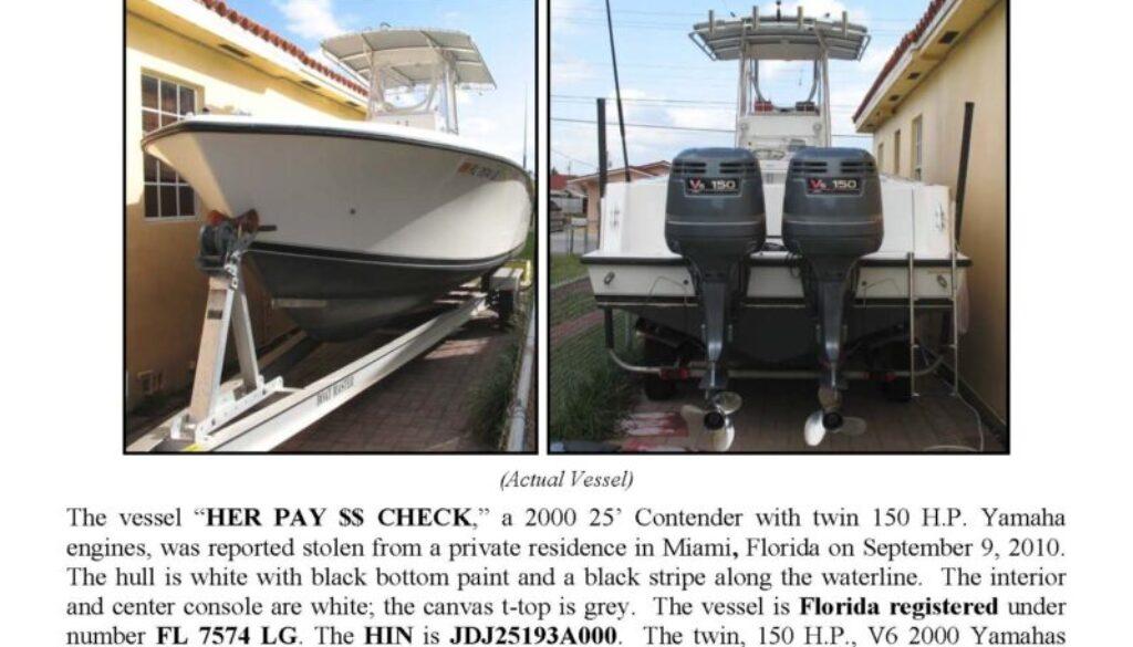 6203-10 Stolen Boat Notice - 25' Contender
