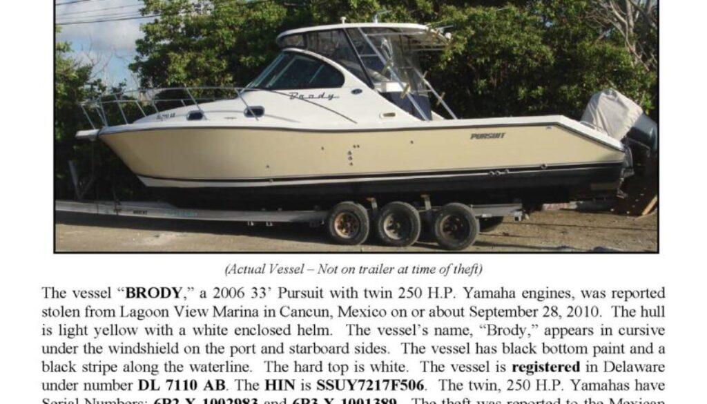 6207-10 Stolen Boat Notice - 33' Pursuit