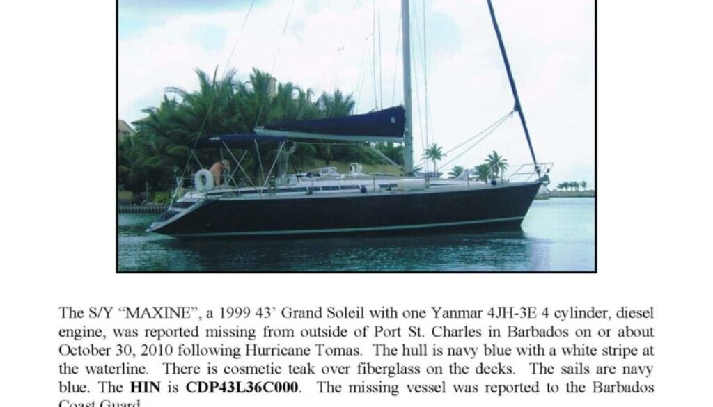 6231-10 Missing Boat Notice - 43' Grand Soleil