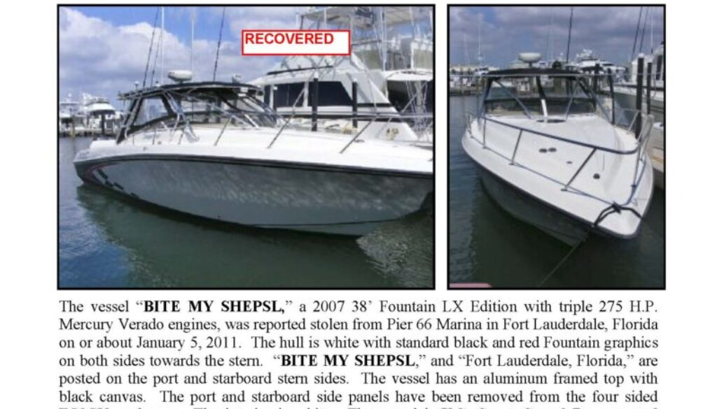 6233-11 Stolen Boat Notice - 38' Fountain