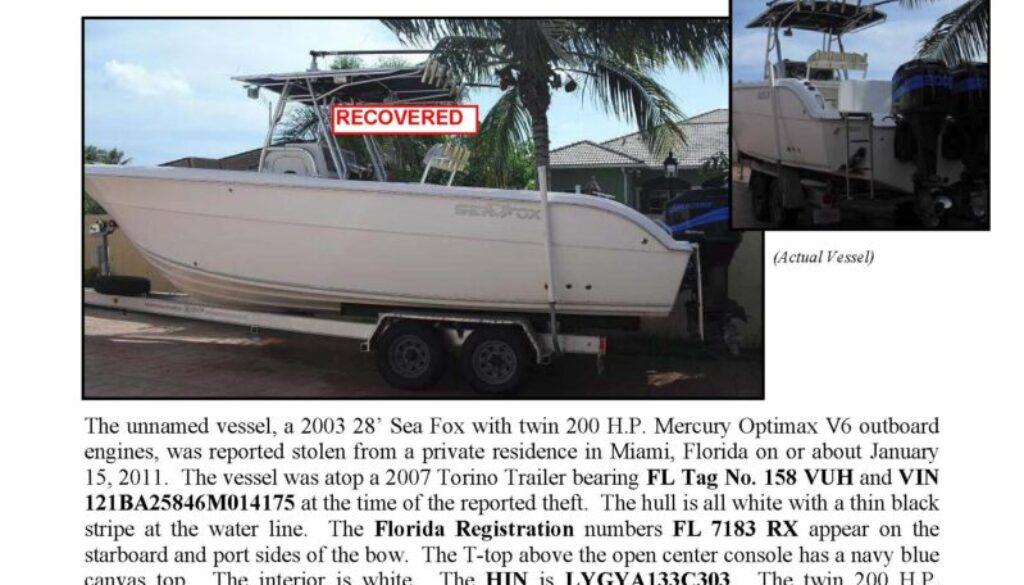 6239-11 Stolen Boat Notice - 28' Sea Fox