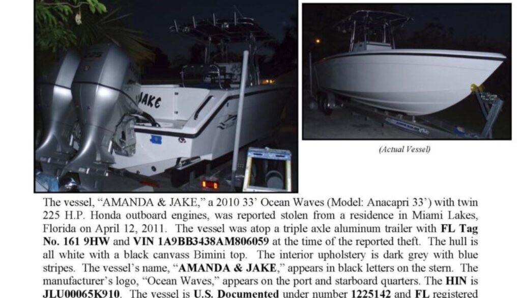 6251-11 Stolen Boat Notice - 33' Ocean Waves