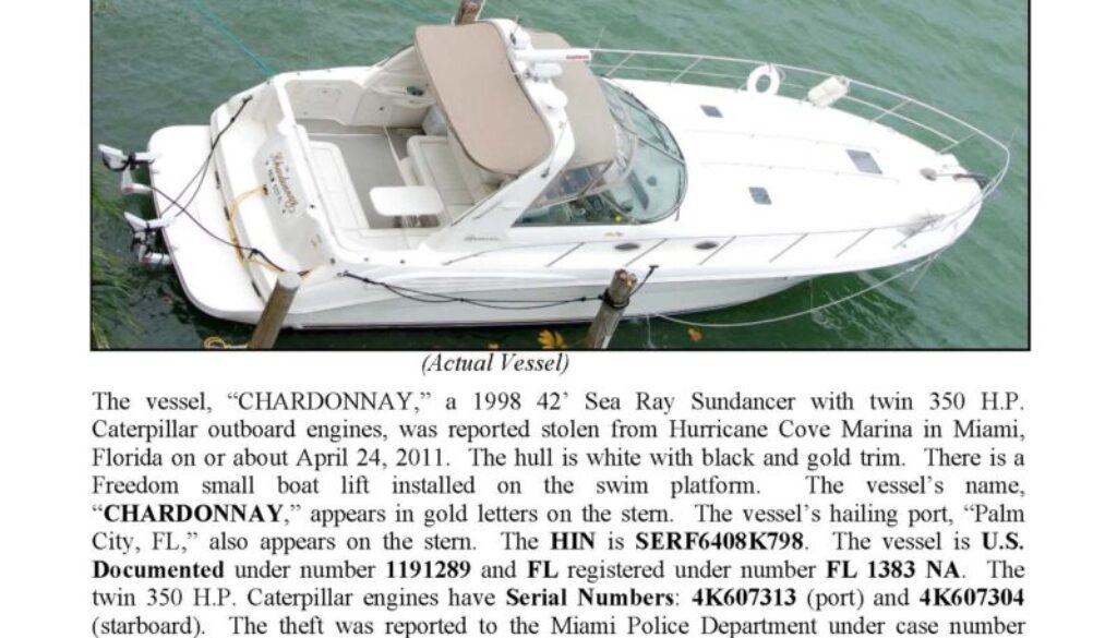 6255-11 Stolen Boat Notice - 42' Sea Ray