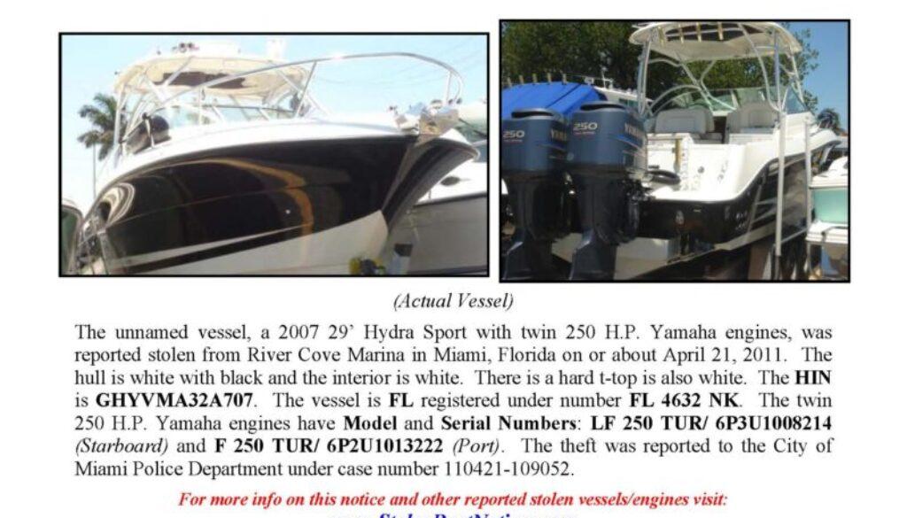 6260-11 Stolen Boat Notice - 29' Hydra Sport